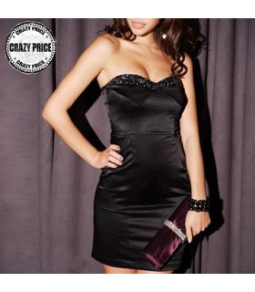 Bodycon satin black dress with gems