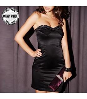 Figurbetontes satin schwarzen Kleid mit Edelsteinen