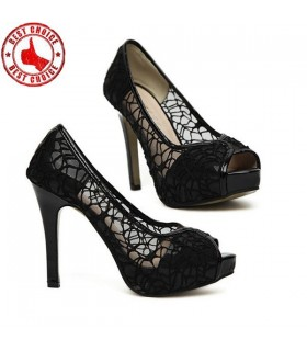 Black lace sexy heel shoes