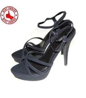 Schwarz Wildleder Luxus High Heels Sandalen