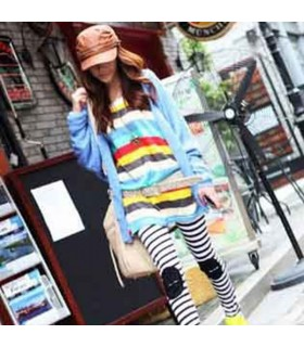 Rainbow stripes long sleeves blouse