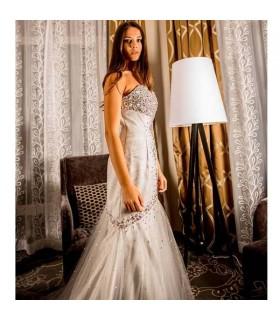 Grigio stupenda sirena sexy abito da sposa