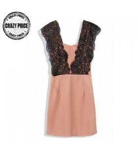 Spitze verziert rosa dünnes Kleid