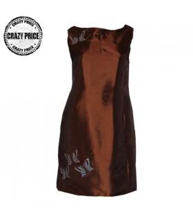 Robe de taffetas couleur chocolat