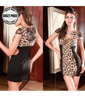 Abito con stampa leopardo stretto sexy
