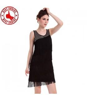 Quasten verziert schwarzen Kleid