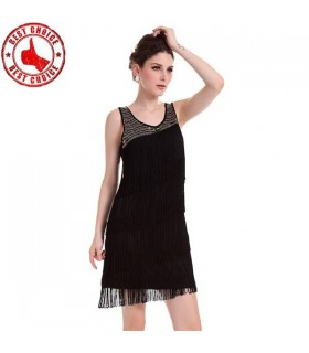 Robe noir embellie par de glands
