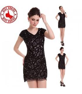 Schwarz Pailletten italienische Kleid