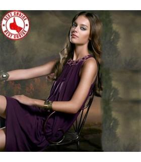 Robe exquise en mousseline de soie violette