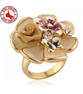 Anello elegante chic fiore oro