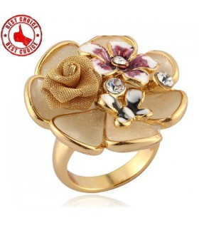 Elegant chic flower gold ring