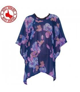 Caftan de soie floral violet
