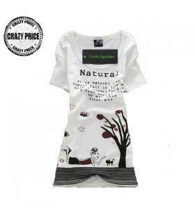 Naturale stampa t-shirt bianca