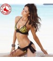 Yellow animal print lace swimsuit bikini