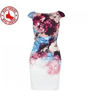 Drucken floral figurbetontes Kleid