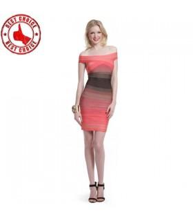 Striped color block pencil dress