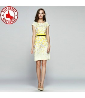 Broderie yellow dress