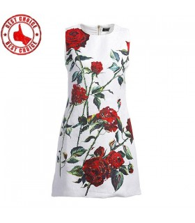 Jacquard embellished roses dress