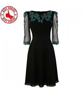 Imprimé dentelle plissée robe