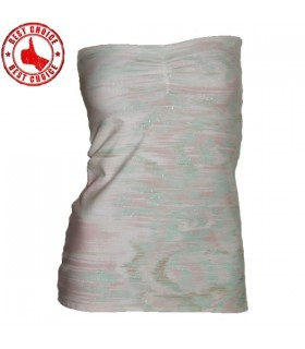 Quality cotton strapless elastic silver sprakle top