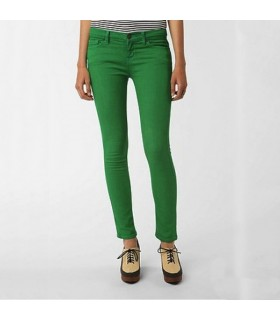 Green slim leg pants