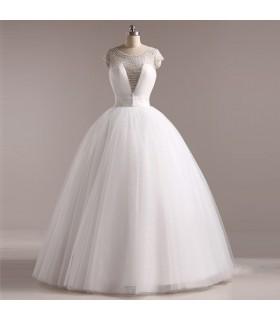Style princesse perlée robe de mariée sexy