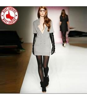 Long cuir noir gants