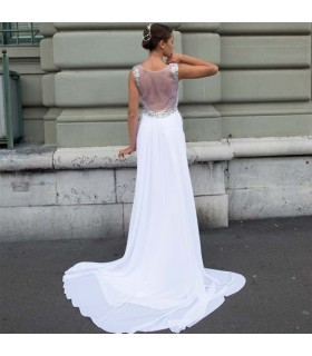 Empty back A-line sexy wedding dress