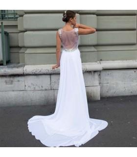 Leeren Sie zurück A-Linie sexy Hochzeitskleid
