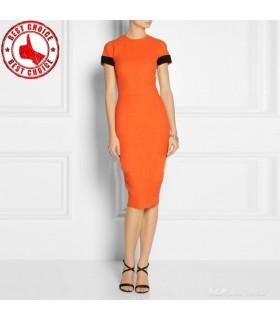 Vestito aderente arancione