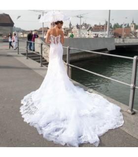 Transparentes Spitzen Meerjungfrauen Hochzeitskleid