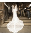 Super sexy backless simple lace wedding dress