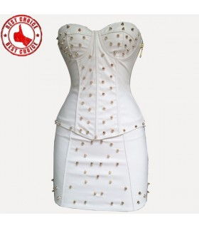 Bianco moda sexy corsetto e gonna