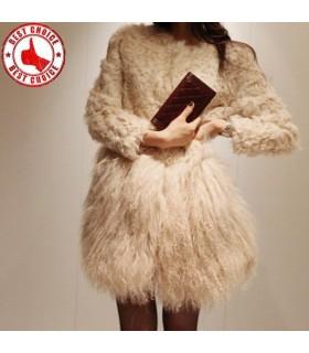 Elegante cappotto di pelliccia nappe