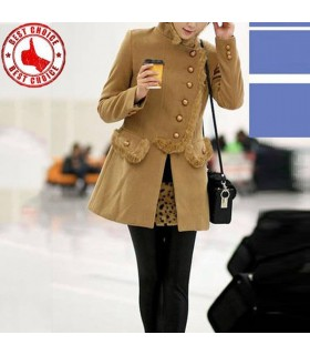 Graceful fur trim design camel coat