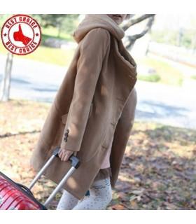 Casual cappuccio cappotto lana pettinata