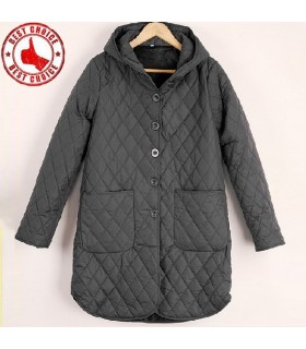 Quilting design with cap deep grey coat