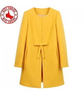Yellow fashion women coat