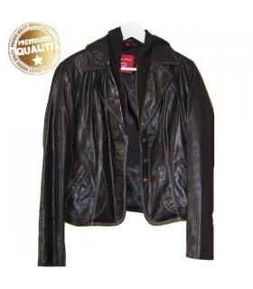 Echtes italienisches Lederdesign schwarze Jacke