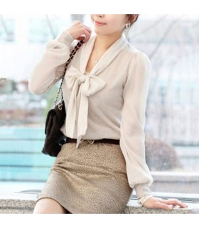 Apricot bowknot casual feeling blouse