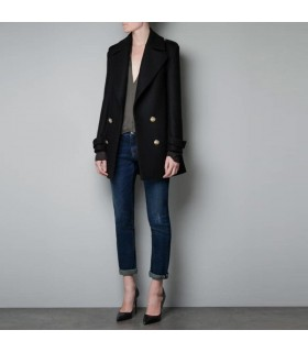 Elegant style double breasted black coat