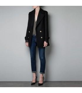 Style élégant double seins manteau noir
