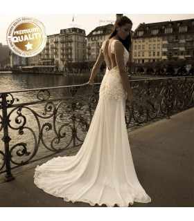 Lace open back sexy wedding dress