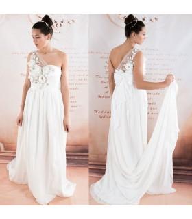 Eine Schulter chiffon Perlen Blumen sexy Brautkleid