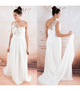 One shoulder chiffon beaded flowers sexy wedding dress
