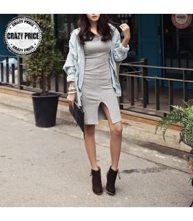 Semplice abito grigio chiaro sexy manica lunga