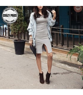 Sexy simple long sleeve light grey dress