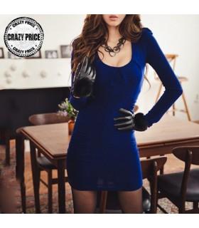Blu elettrico plissettato abito maniche lunghe
