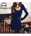 Elektrische blaue gefaltete lange Ärmel Kleid