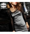 Silver grey shiny gauze long sleeve dress
